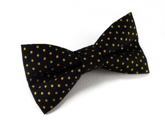 Black and gold clip on bow tie – small pin dot metallic print cotton – pre tied clipon style – mens or womens – glam wedding bow tie