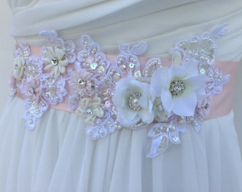 Lace And Pearl Bridal Sash-Wedding Sash In Blush Pink, Ivory And White With Crystals,Wedding Dress Sash, Bridal Belt,