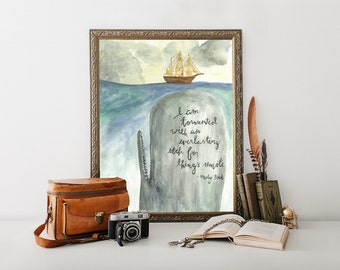 Whale art, Moby Dick Painting, Moby Dick quote
