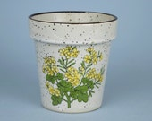 Vintage Small Ceramic Flower Pot / Planter Brown Speckled Made in Japan
