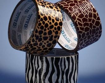 "1 7/8"" Animal Safari Print Duct Tape  5 Yard Rolls Cheetah Zebra Giraffe Assorted Brown Black White Beige Yellow Zoo Leopard"