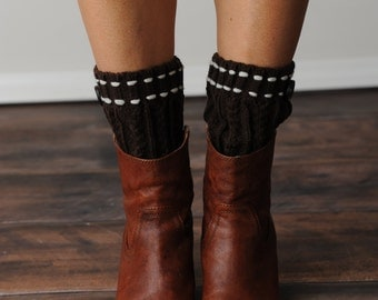 FREE SHIPPING! Mocha Boot Cuffs, Brown Boot Socks, Brown Boot Cuffs, Knit Boot Socks