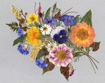 Real Flowers Art print Bouquet with Pansy 8x10 Pressed Flower Art Oshibana Mixed Media Floral Design