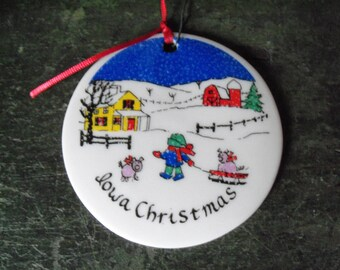 Vintage 1983 Iowa Christmas Ceramic Ornament Tree Decoration