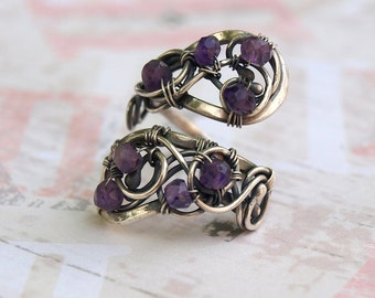 Amethyst Ring Silver Ring Adjustable Ring - Silver Jewelry Natural Amethyst Ring Wire Wrapped Jewelry