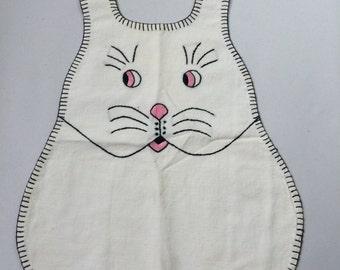 White rabbit bib - vintage