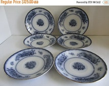 SALE set of 6  Flow Blue Bowls Flow Blue China Bowls  Blue and White China Bowl Cobalt Blue Floral Burleighware Stratford English China Flow