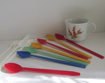 13 Retro Ice Cream Parlor Spoons Frappe Spoons Bakers Dozen Ice Tea Spoons Ice Cream Spoons Ice Cream Sundae Spoons Long Spoons Plastic