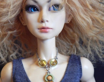 doll necklace - Lemon Drops - boho yellow statement necklace for ball joint dolls - BJD jewelry - doll accessories