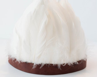 White Feather Crown / Leather & Feathers/ Ready to Ship