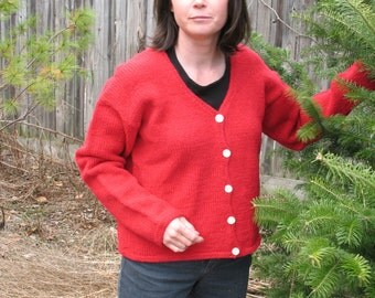 Cardigan Sweater V Neck Red Wool Mohair Handknit Peace Fleece Vintage Pearl MOP Buttons Hand Knitted