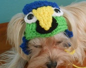 Crocheted  Green Parrot Cat Hat, Parrot Dog Hat, Bird Hat for Cat, Bird Hat for Dog, Parrot Head Pet Hat, Halloween Cat or Dog Costume