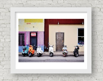 Moped Wall Art, Moped Art, Street Photography, Urban Art, Dallas Wall Art, Travel Photography, Street Art, Urban Wall Art Dallas Photography