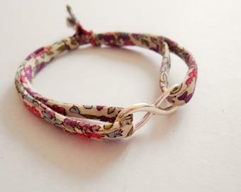 infinity bracelet  - silver infinity bracelet - infinite bracelet - charm bracelet - infinity charm bracelet -  liberty bracelet - tissu