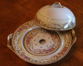 "Haviland (Theodore) Limoges France ""Portland"" Pattern Pink Floral Gold Trim China Round Covered Butter Dish"