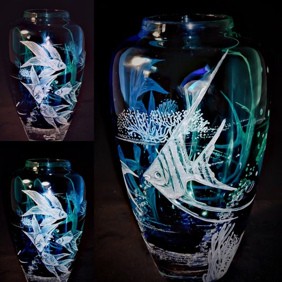 Hand Engraved Glass Vase, Coral Fish, Gold Fish, Art Glass, engraved, weddings, gifts, Mothers day, Home Decor, Interioir design