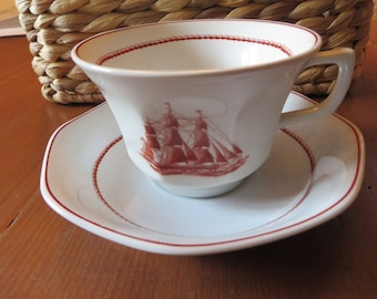Vintage Wedgewood Flying Cloud set of four cups and four saucers tall sailing ships