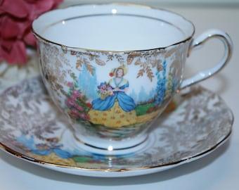 Colclough Gold Chintz Teacup and Saucer Set