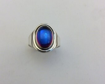 sterling silver prismatic blue opal ring