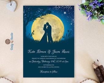 Under the stars wedding Invitations | Moon wedding invitations printed | Bride ang groom wedding invitations | Romantic wedding invites