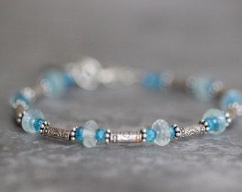 SUMMER SALE Gemstone Bracelet, Thai Silver Bracelet, Aquamarine, Apatite, Layering Bracelet, Beaded Bracelet, Sterling Silver, Charm Bracele