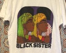 Vintage 1980s/90s Black Sister White T Shirt With The Name Jocelin