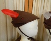 Chocolate Brown Robin Hood Style Hat With Extra Feathers (Size: Small) for Infants and Small Toddlers