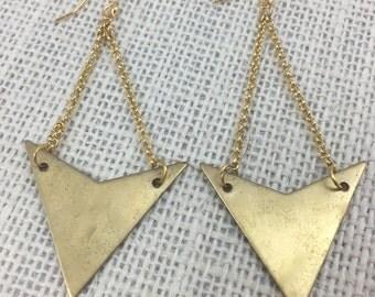Dangly Brass Triangle Earrings