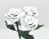 3 White Leather Roses Flower Bouquet  Long Stem Green Leather