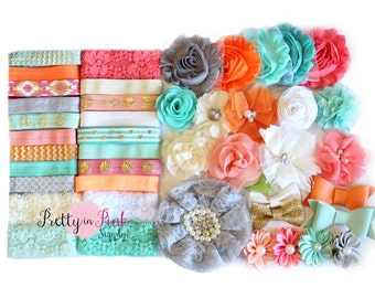 Coral Aqua Baby Shower Headband Kit #162- Baby Shower- Baby Shower Headband Station- Baby girl- Headband Supplies- Diy Headband Supplies