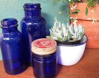 Blue Cobalt Bottles Apothecary Bottle Vintage Wedding Decor