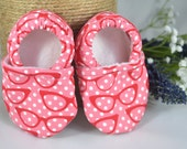 Sassy Pink Glasses Baby Shoes - Mushies Baby Shoes - Grip Sole Baby Shoes - Glasses Baby Shoes - 6-12 month Baby Shoes - Fabric Baby Shoes