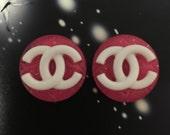On sale Glitter Round Designer logo Earring