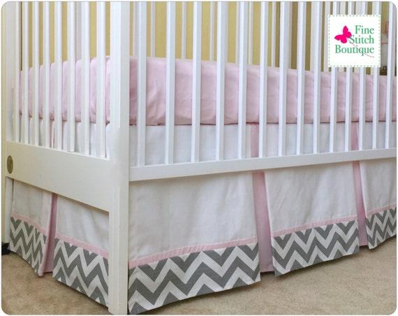 gray and pink chevron pleated crib skirt chevron dust ruffle