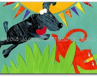 "Cat art, Dog art, 5 x 7"" Giclee print, Whimsical cat, Acrylic painting print, Orange cat collage, Dog chasing cat, Whimsical animal art"
