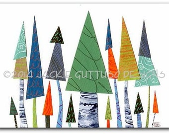 "Tree art, Giclee print 5 x 7"",  Forest nursery, Woodland nursery, Whimsical tree collage, Modern holiday art, Christmas trees, Winter decor"