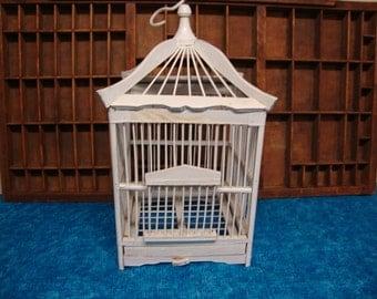 White Wood Bird Cage Hangable