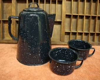 Enamelware Coffee Pot and 2 Coffee Cups