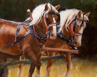 "Belgium horse team, original oil, fabulous detail, rich colors, 16 X 20"" unframed (framed option)"