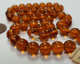 50 Vintage Western Germany Glass Light Smoked Topaz 8mm. Smooth Round Beads 4699