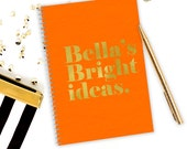 Gold foil notebook notepad- Hot foil notebook- Personalised notebook-  Personalised notebook- Neon orange notebook- Fashion stationery