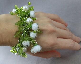 Lampwork Bracelet, Bracelet, Floral Bracelet, Flower Bracelet, Lily of the valley Bracelet, Bracelet Lily of the valley, Lily of the valley