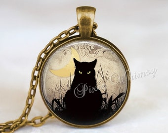 BLACK CAT Pendant Necklace Jewelry or Keychain, Halloween Black Cat Art, Gothic Pendant Necklace, Crescent Moon, Sepia, Silver or Bronze