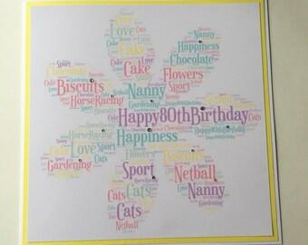 Special Birthday Card, Keepsake Card, Wordle Card, Word Cloud Card, Word Collage Card, Word Art Card, Personalised Card, Retirement Card,.