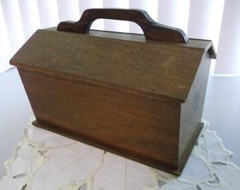 Vintage Wood Sewing Box Wood Sewing Caddy