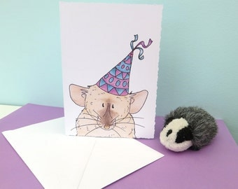 Party Rat Greeting Card 250gsm 105mm x 148mm Blank Matt Card On Inside With Plain White Envelope