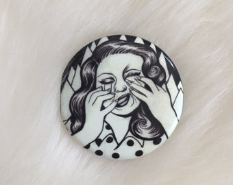 "1.5"" smash face pinback button"
