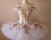 Ballet Tutu - Professional stage white & gold  ballet tutu