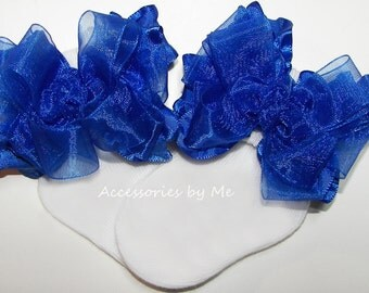 Royal Blue Socks, Baby Ruffle Bow Socks, Girls Organza Ruffle Bows and Socks, Princess Pageant Cinderella 1st Birthday Blue Trim White Socks