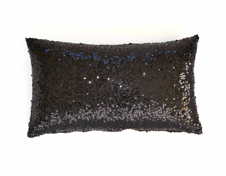 20 x 20 - Sequin Pillow Cover - Black Taffeta - Decorative Pillow ...